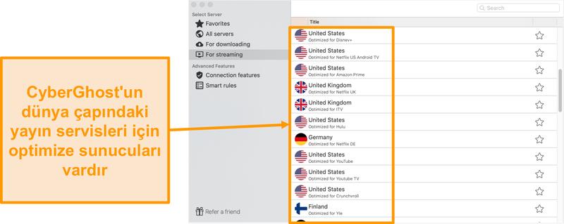 Akış için optimize edilmiş sunucuları gösteren Mac için CyberGhost uygulamasının ekran görüntüsü