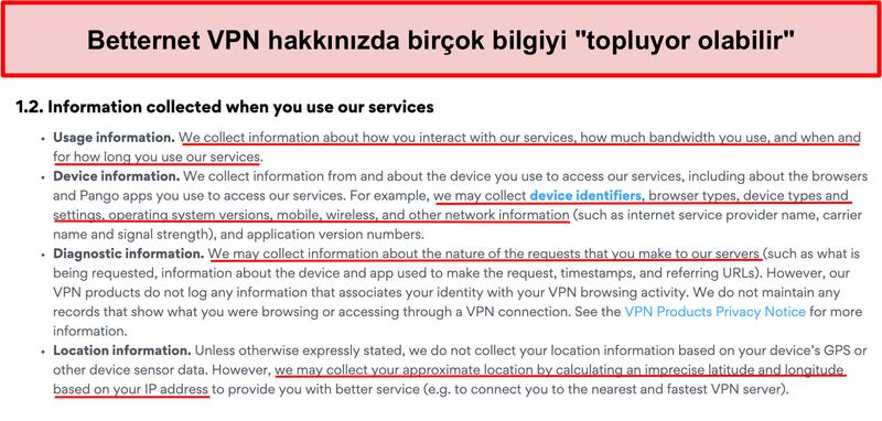 Betternet VPN gizlilik politikasının ekran görüntüsü