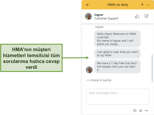 HMA'nın müşteri desteği canlı sohbetinin ekran görüntüsü