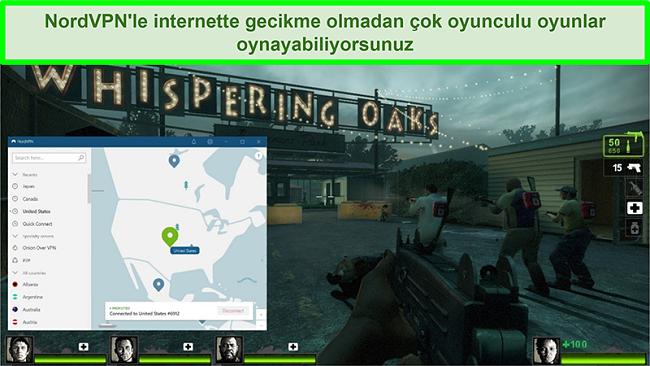 Left 4 Dead 2 oyun oynarken bir ABD sunucusuna bağlanan NordVPN'in ekran görüntüsü