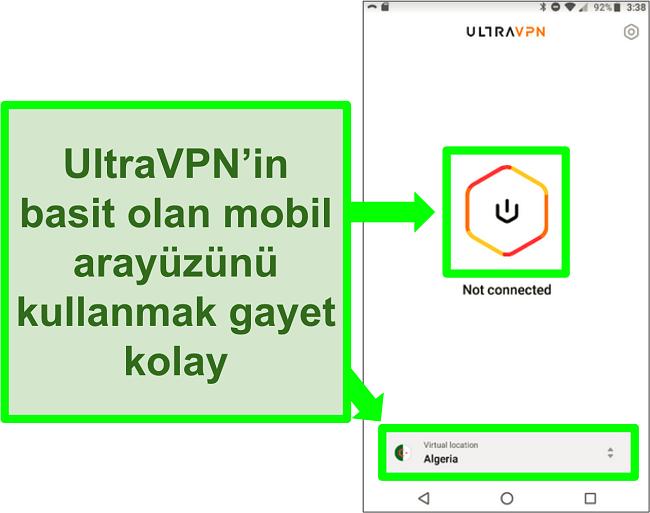 Android'deki UltraVPN kullanıcı arayüzünün ekran görüntüsü