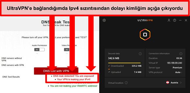 UltraVPN Avusturya'daki bir sunucuya bağlıyken başarısız bir IPv6 sızıntı testinin ekran görüntüsü