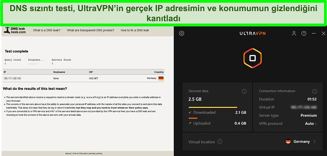 UltraVPN Almanya'daki bir sunucuya bağlıyken başarılı bir DNS sızıntı testinin ekran görüntüsü