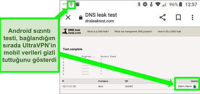 Android'deki UltraVPN Cezayir'deki bir sunucuya bağlıyken başarılı bir DNS sızıntı testinin ekran görüntüsü