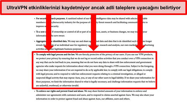 UltraVPN'in gizlilik politikasının ekran görüntüsü