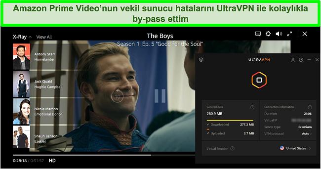 The Boys on Amazon Prime Video'nun UltraVPN ABD'deki bir sunucuya bağlıyken ekran görüntüsü