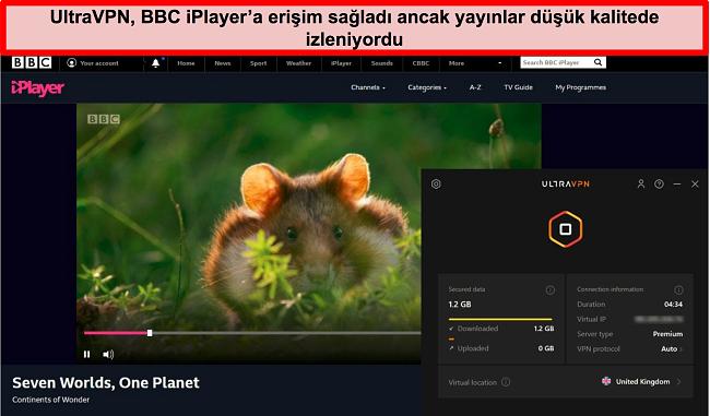 Birleşik Krallık'ta UltraVNc sunucusu tarafından engellenen BBC iPlayer'ın ekran görüntüsü