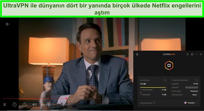 UltraVPN Houston'daki bir sunucuya bağlıyken Netflix'te oynayan Cobra Kai'nin ekran görüntüsü