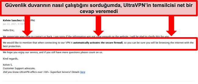 UltraVPN teknik desteğinden gelen bir e-postanın ekran görüntüsü