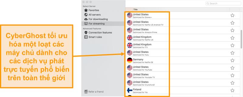 Ảnh chụp màn hình của ứng dụng CyberGhost dành cho Mac hiển thị các máy chủ được tối ưu hóa để phát trực tuyến