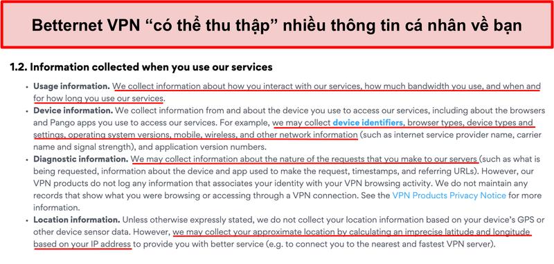 Ảnh chụp màn hình chính sách bảo mật của Betternet VPN