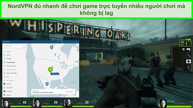 Ảnh chụp màn hình của NordVPN được kết nối với máy chủ Hoa Kỳ trong khi trò chơi Left 4 Dead 2 đang chơi