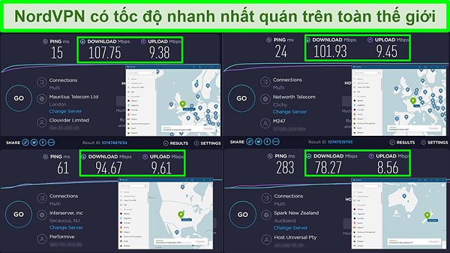 Ảnh chụp màn hình của các bài kiểm tra tốc độ với NordVPN được kết nối với các máy chủ toàn cầu khác nhau