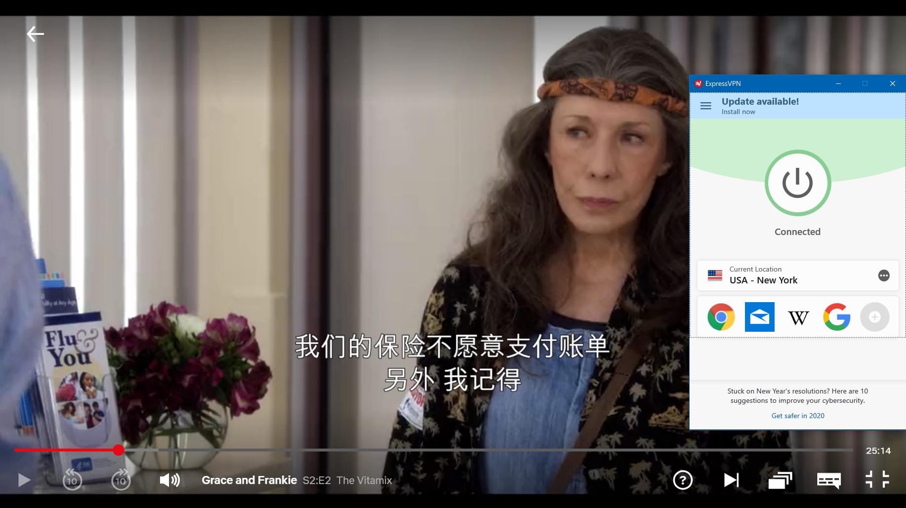 """使用ExpressVPN在Netflix上播放的"""" Grace And Frankie""""的屏幕截图"""