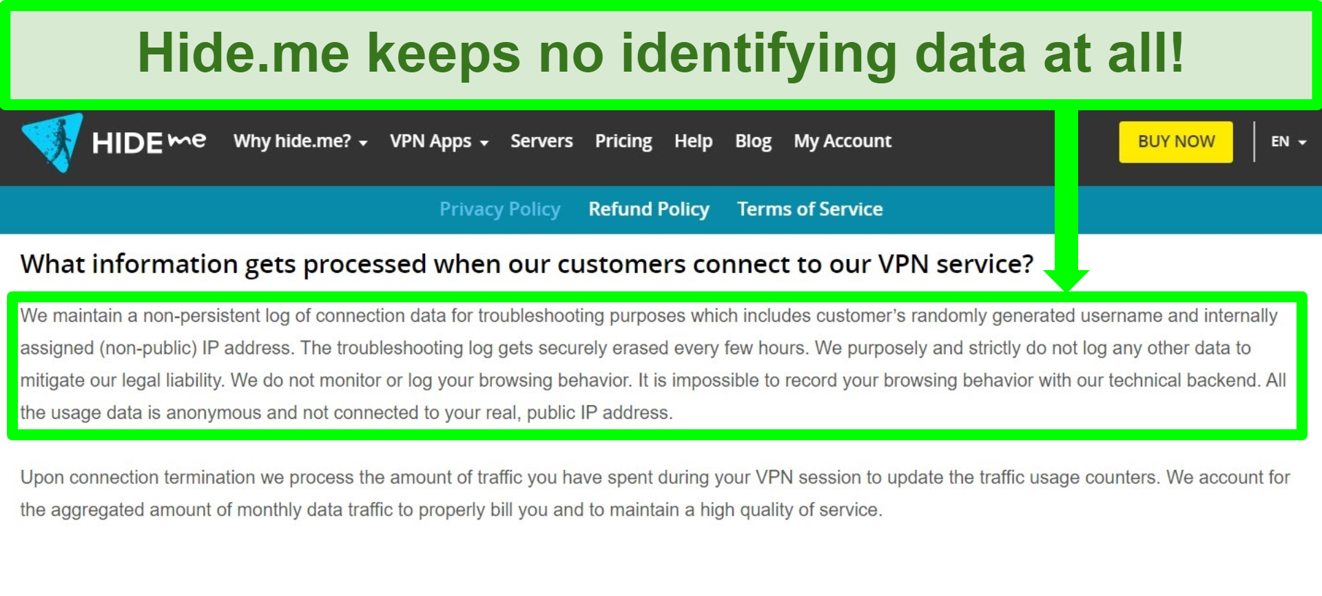Screenshot of Hide.me's privacy policy