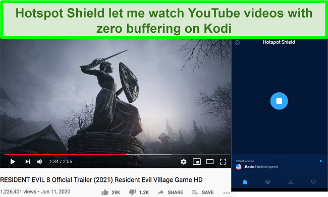Screenshot of hotspot shield activated while streaming YouTube video of Resident Evil 8