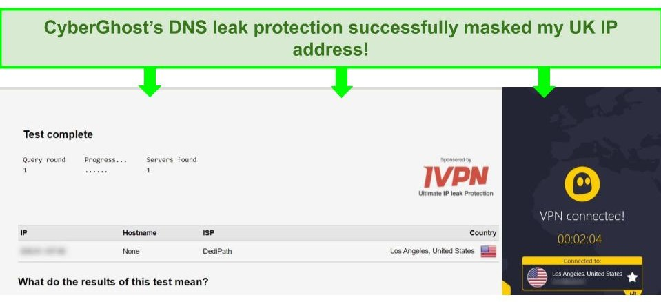 Screenshot of a DNS leak test while connected to CyberGhost.