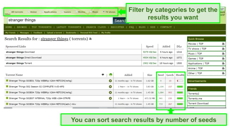 Screenshot of Limetorrents search page.