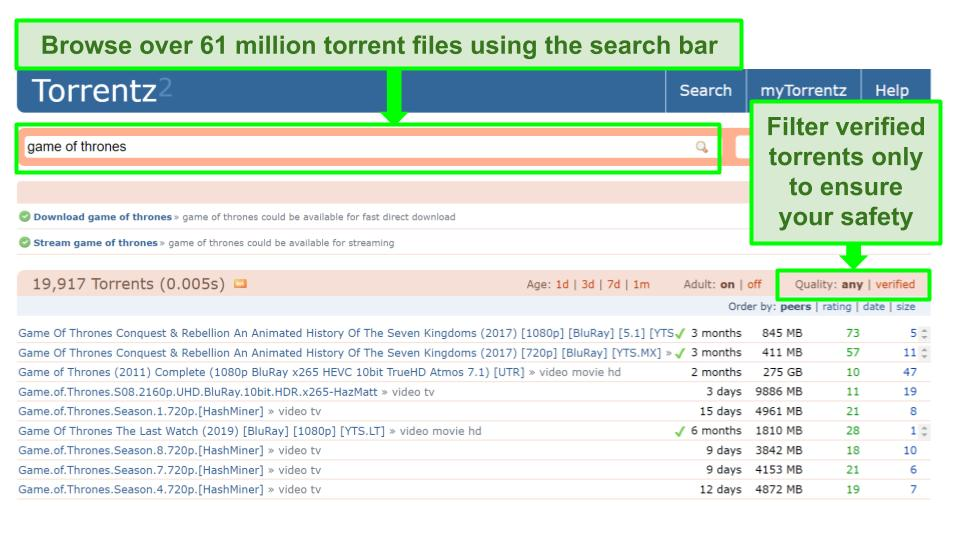 Screenshot of Torrentz2 search page.