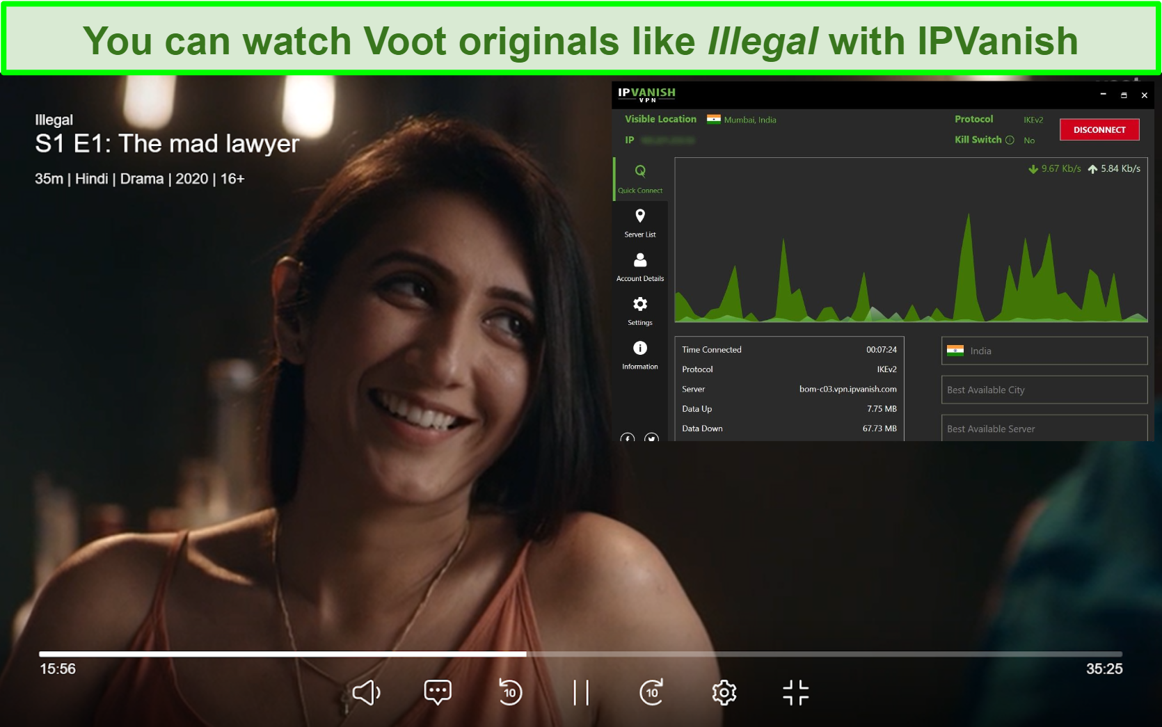 Screenshot of Illegal playing on Voot with IPVanish connected