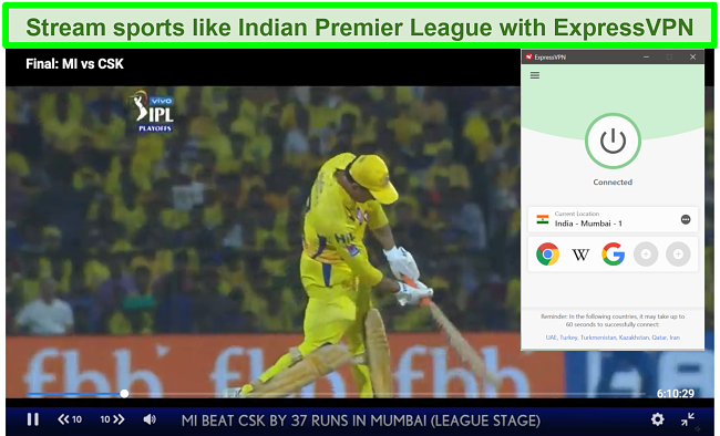 Screenshot of the Indian Premier League on Star Sports with ExpressVPN connected