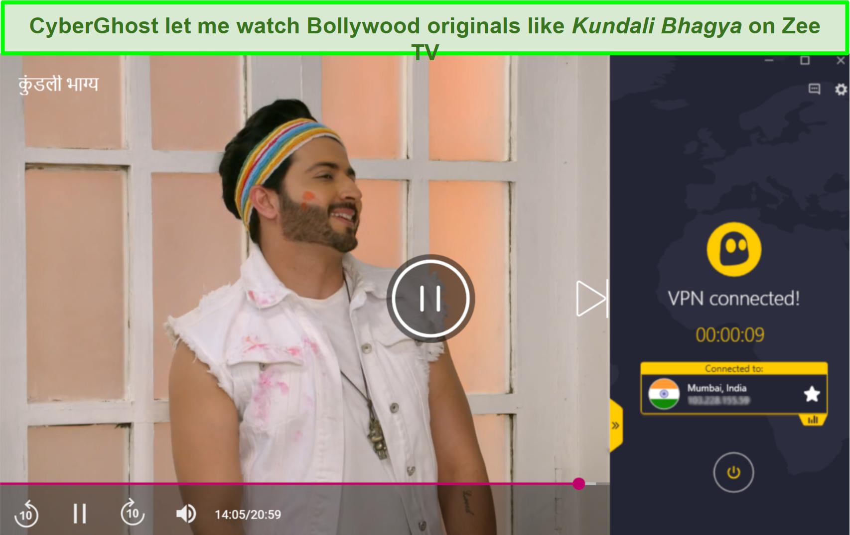 Screenshot of Kundali Bhagya on Zee TV playing with Cyberghost connected