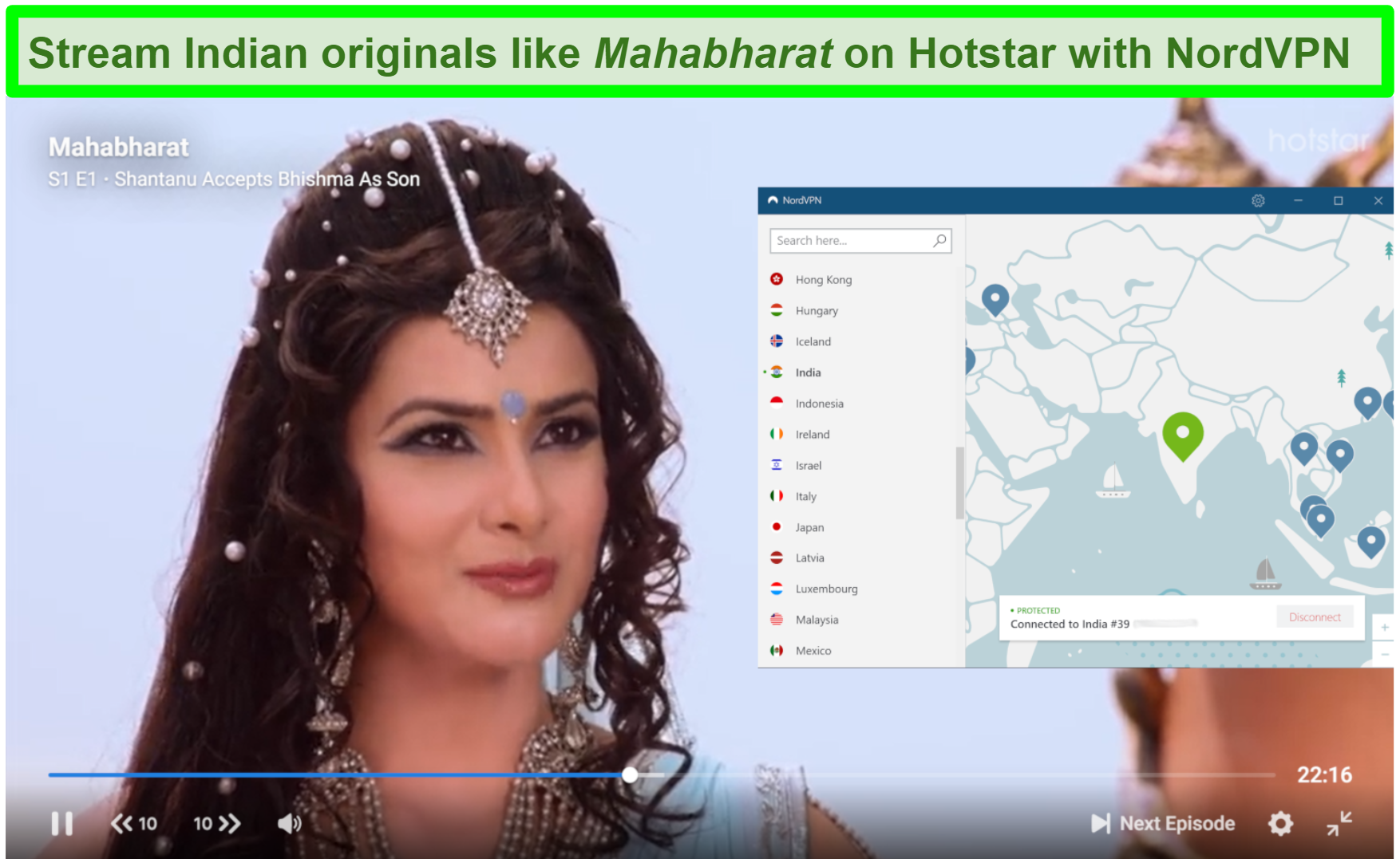Screenshot of Mahabrarat on Hotstar playing with NordVPN connected