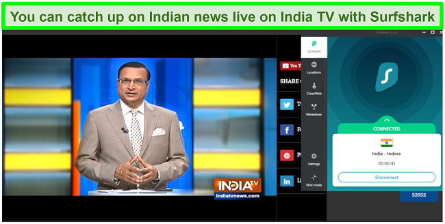 Screenshot of India TV new live with Surfshark connected