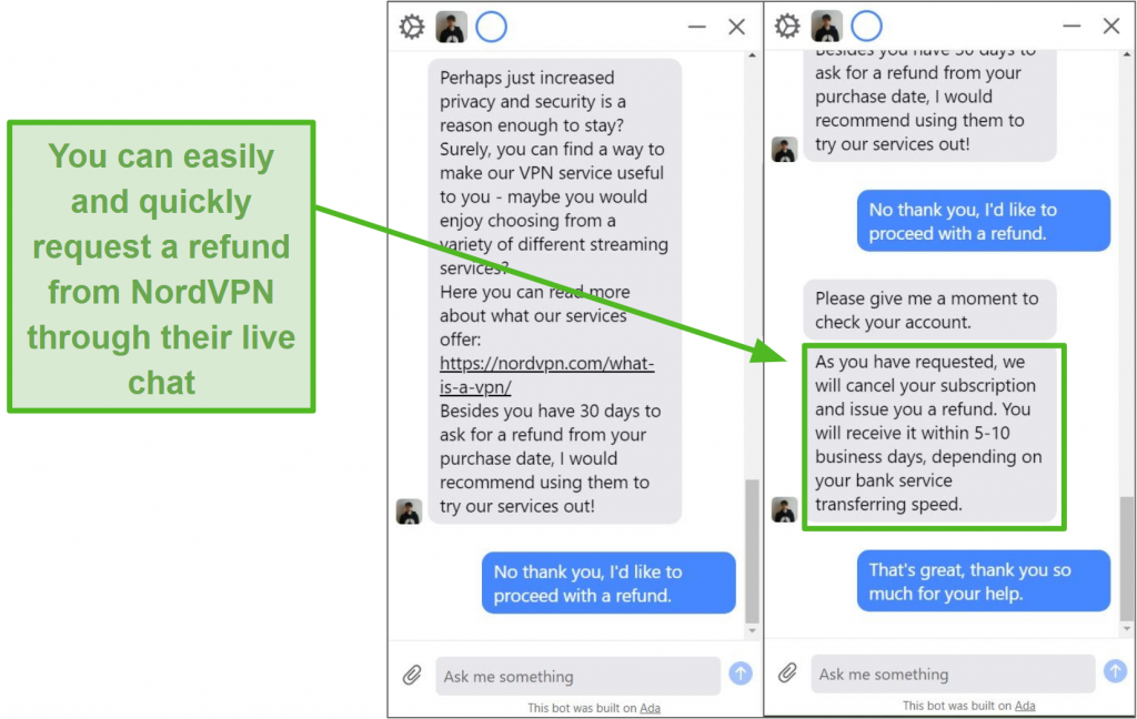 Screenshot of a live chat agent processing a NordVPN refund