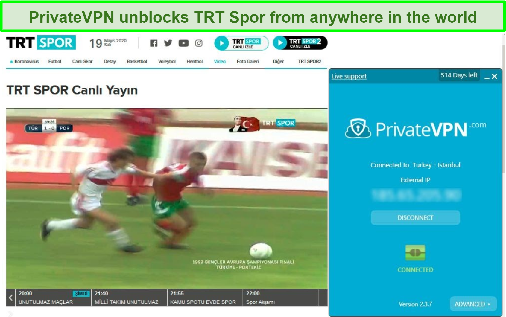 Screenshot of TRT Spor streaming a soccer match with PrivateVPN's user interface connected to the server in Turkey