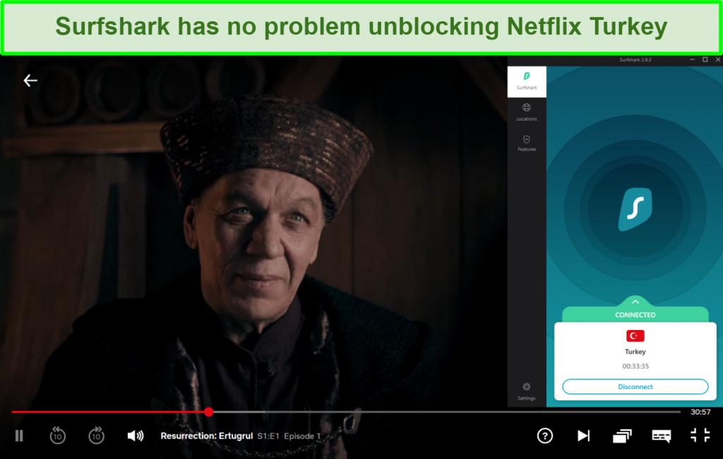 Screenshot of Surfshark user interface connected to Turkey while streaming Diriliş: Ertuğrul