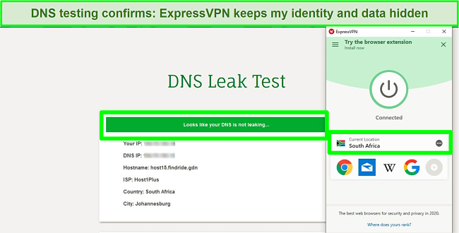 Screenshot of ExpressVPN passing a DNS leak test while connected to the server in South Africa