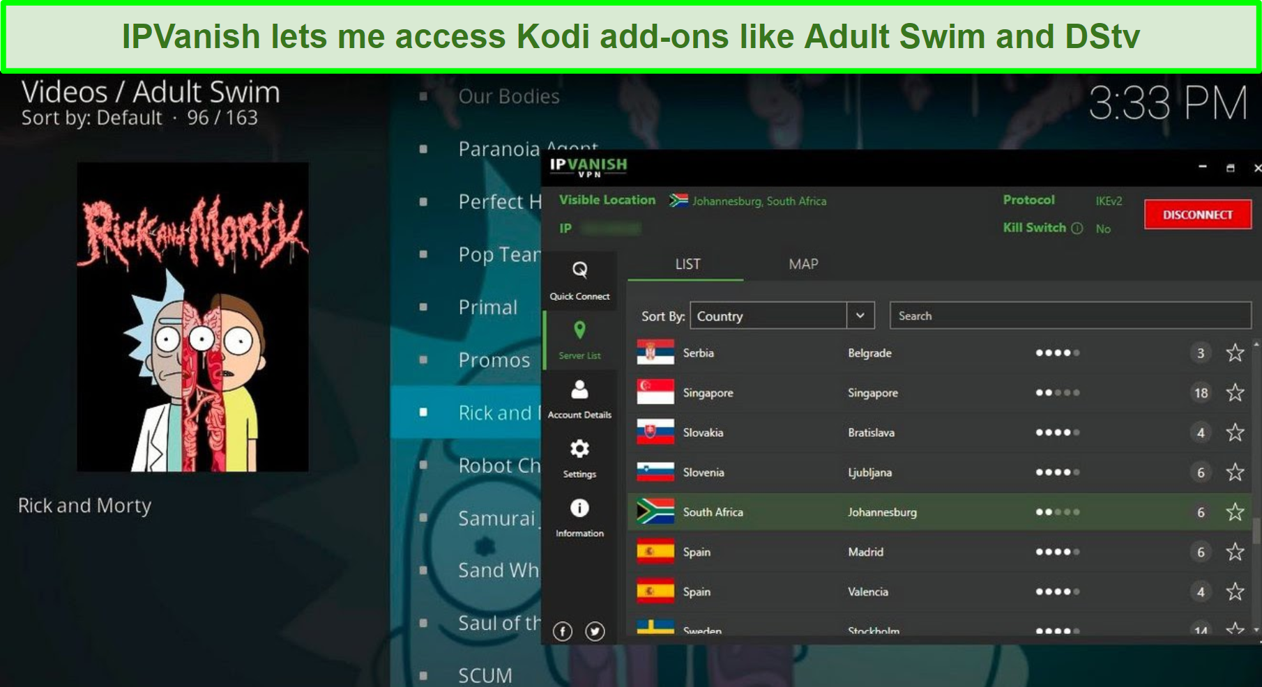 Screenshot of IPVanish interface and Kodi interface, showing the Adult Swim add-on while connected to South Africa