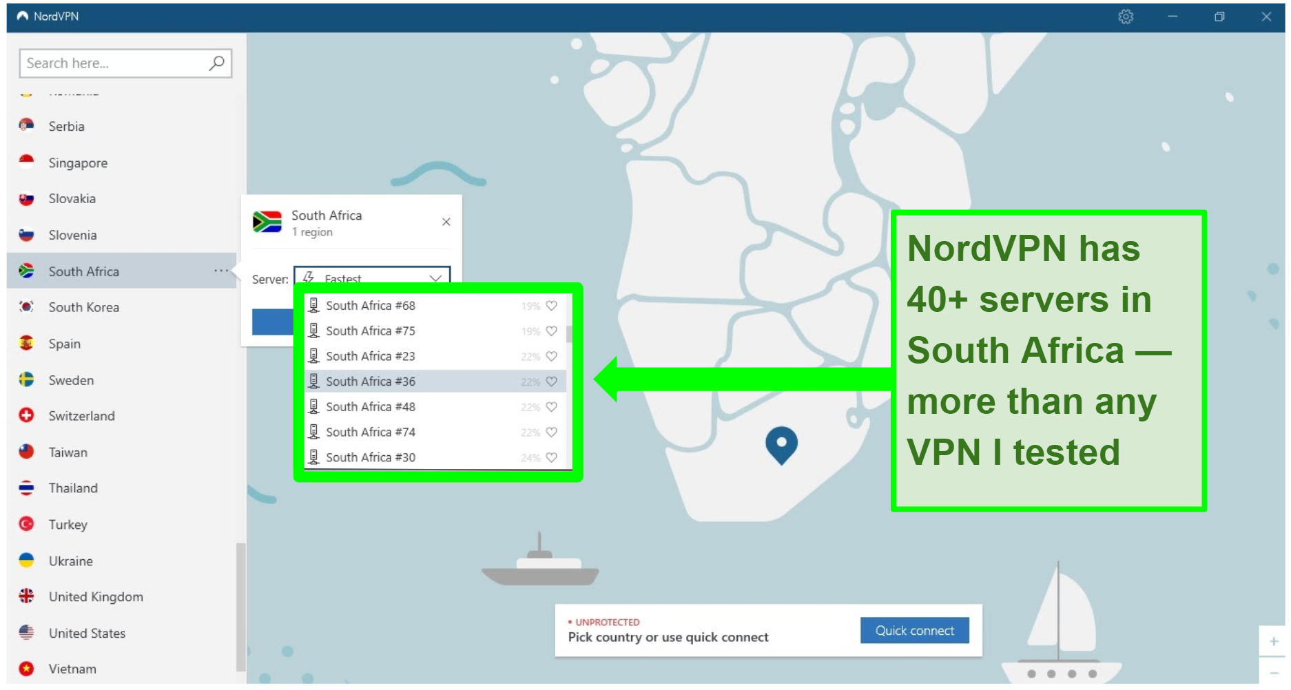 Screenshot of the NordVPN interface with servers in South Africa