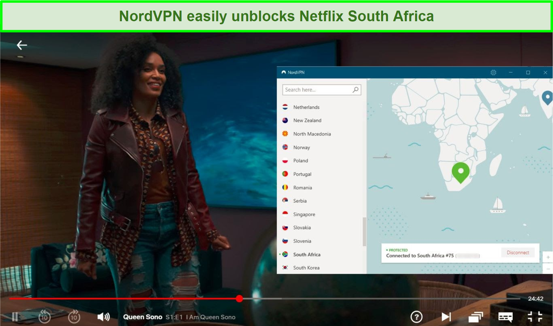 Screenshot of NordVPN's user interface and Queen Sono playing in Netflix while connected to a server in South Africa