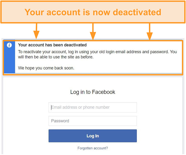Screenshot of the confirmation of account deactivation