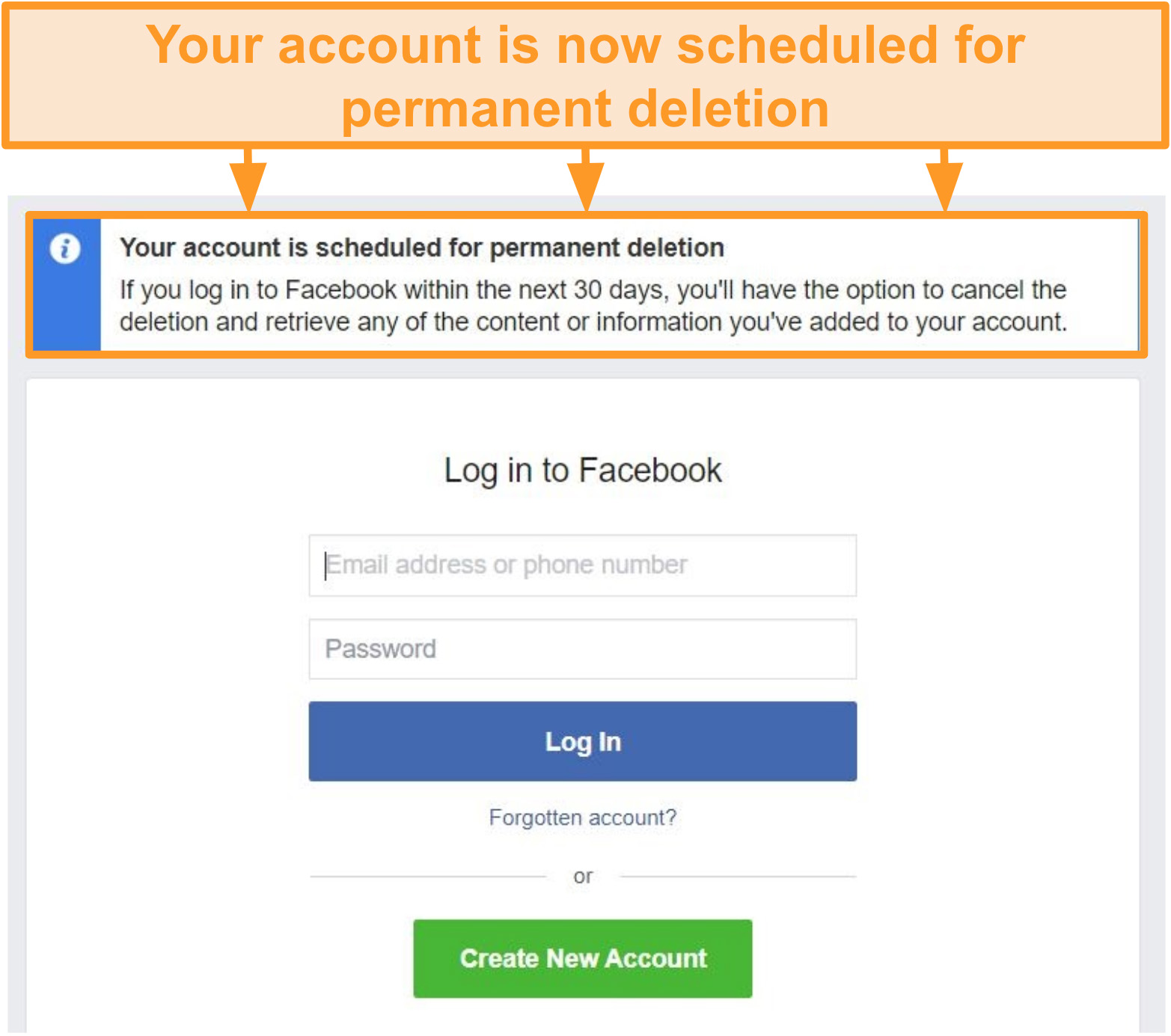 Screenshot of Facebook account being scheduled for deletion