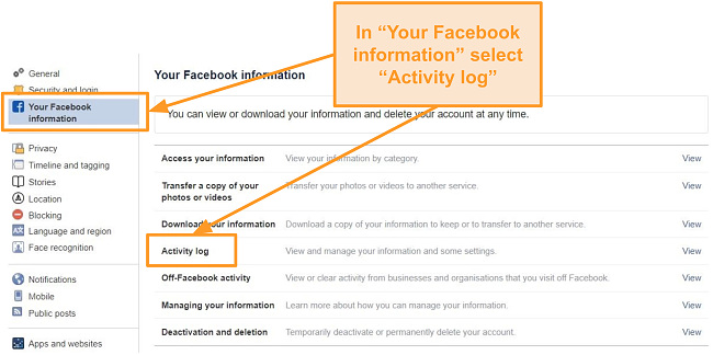 Screenshot of Activity log settings