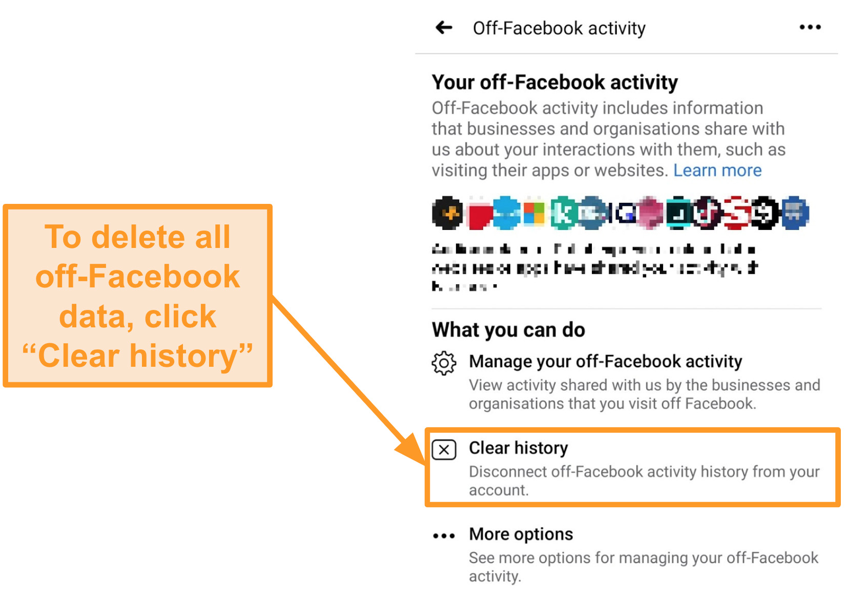 Screenshot of how to clear all off-Facebook activity history