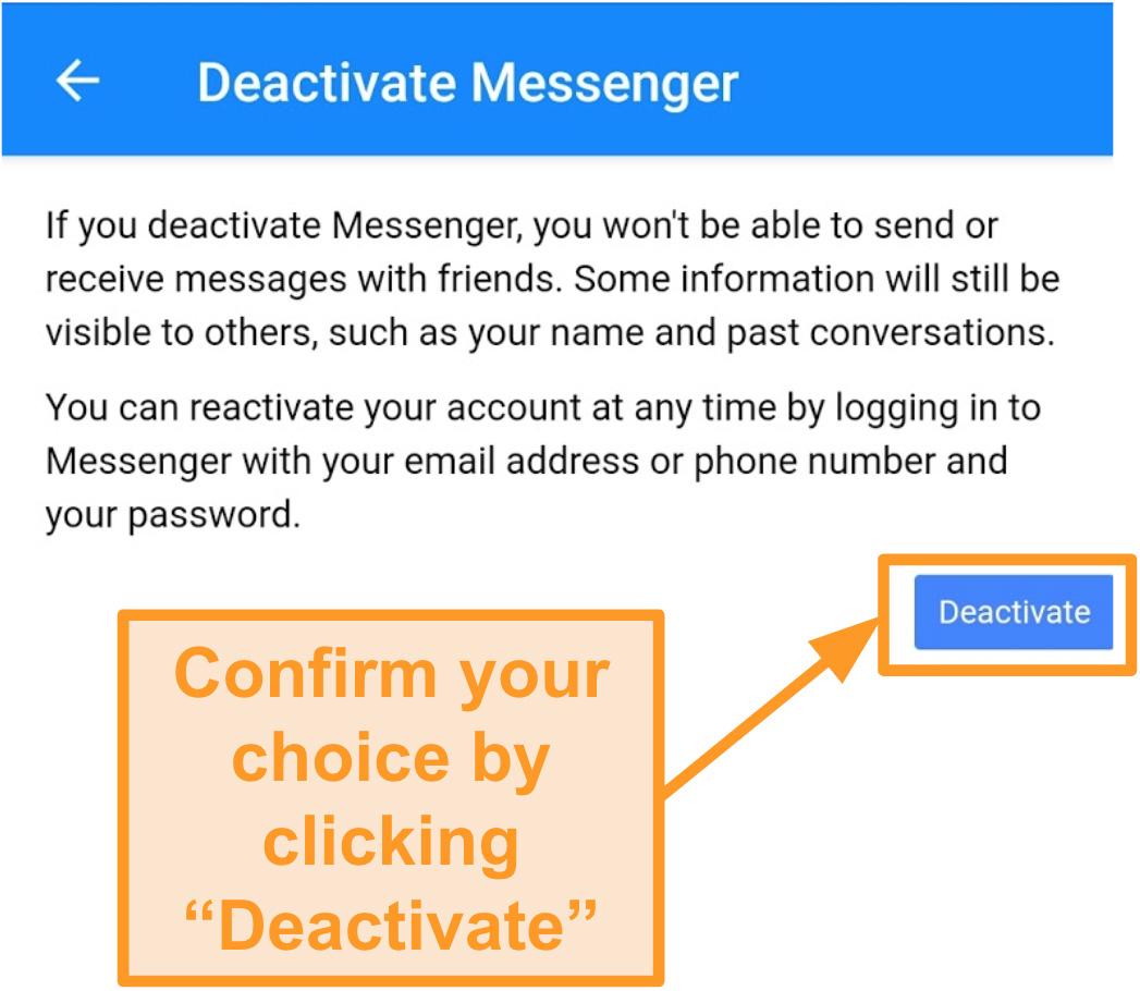 Captura de pantalla para confirmar la desactivación de Messenger