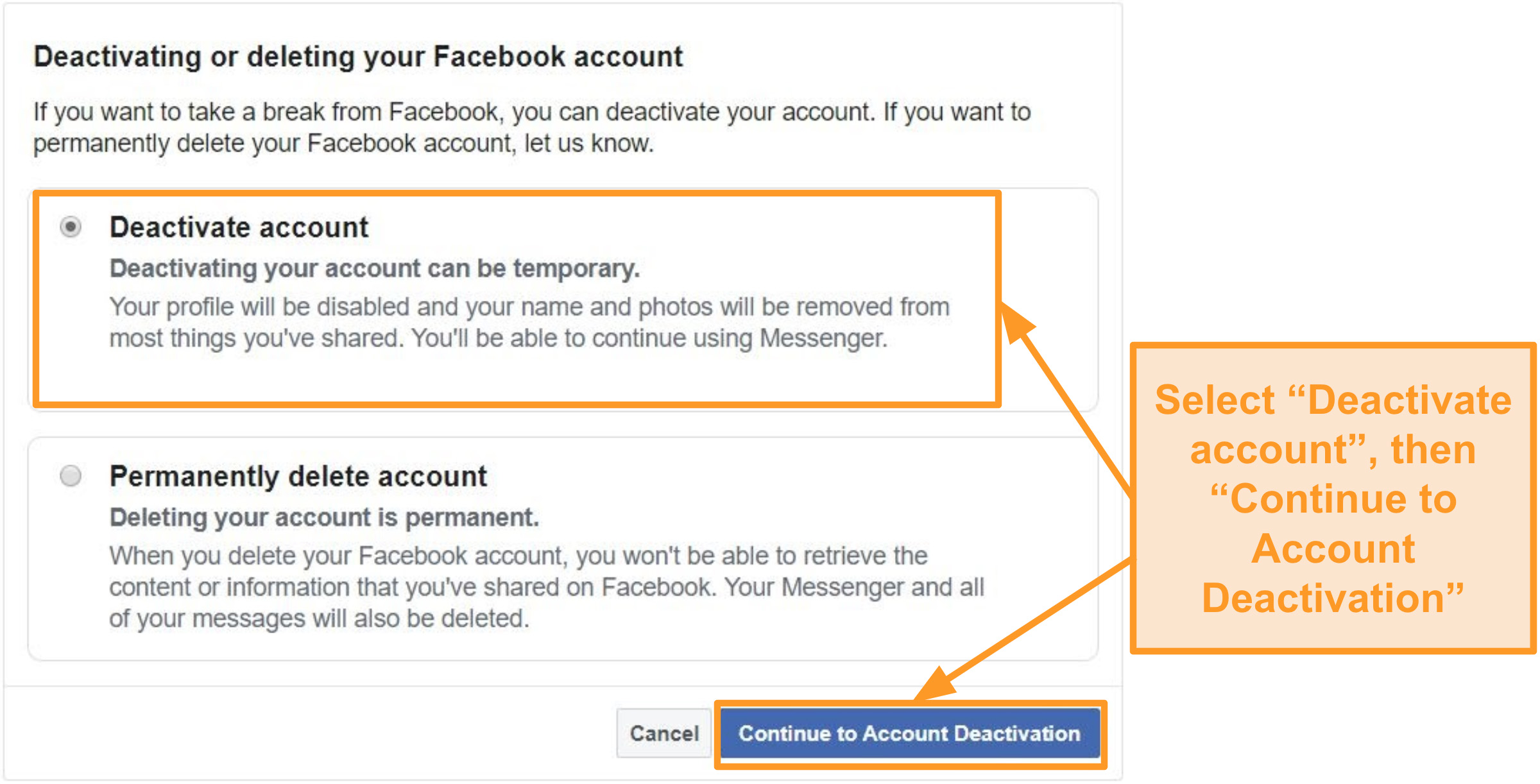 Screenshot of how to deactivate Facebook account