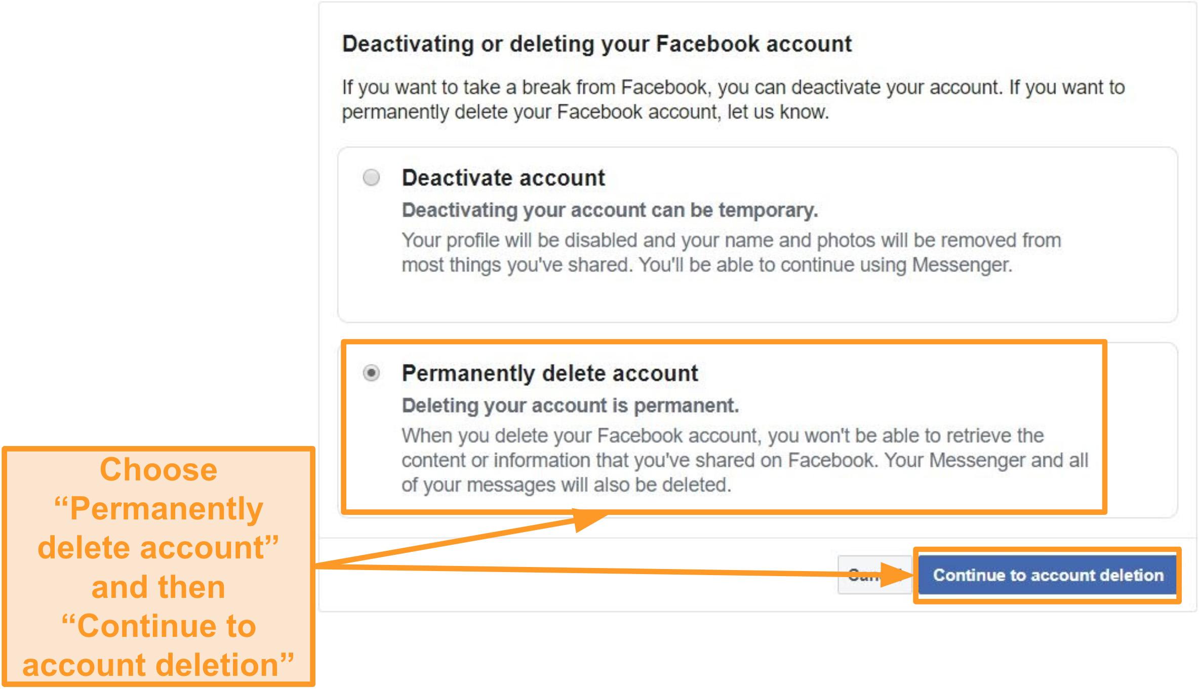 """Captura de pantalla de la opción """"Eliminar cuenta de forma permanente"""""""