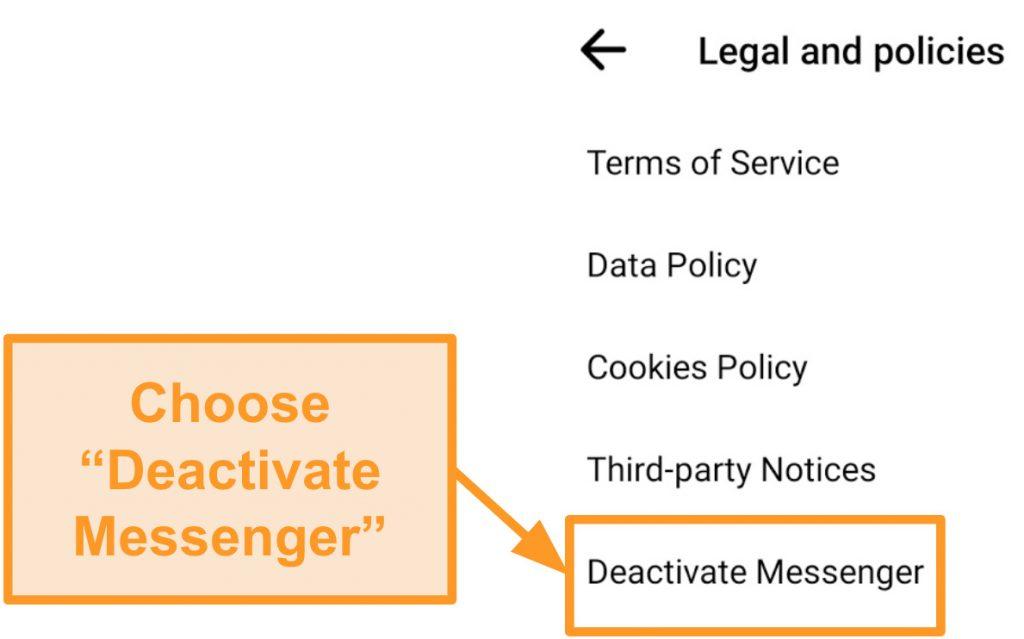 Screenshot of deactivating Messenger