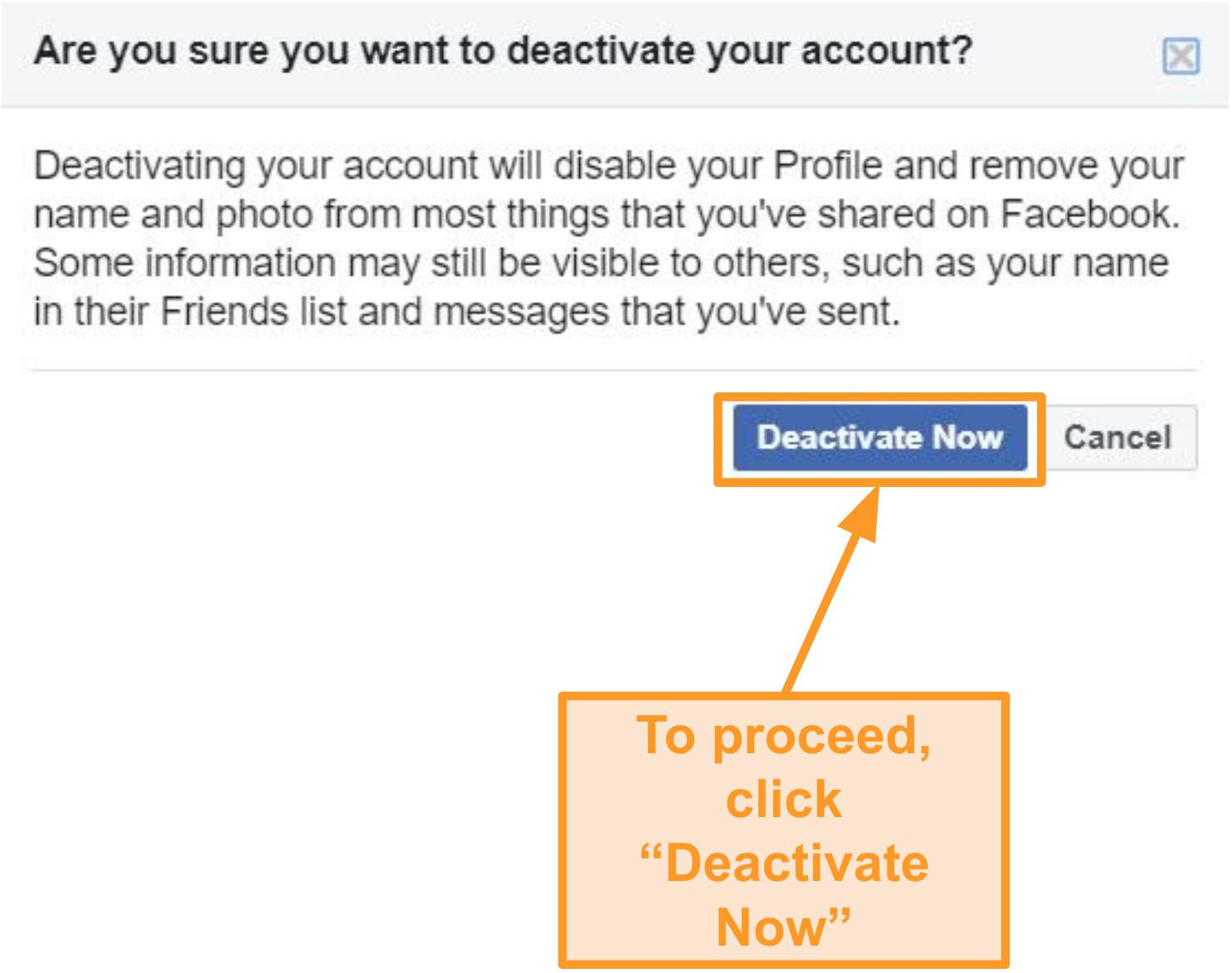 Captura de pantalla de la desactivación de la cuenta de Facebook