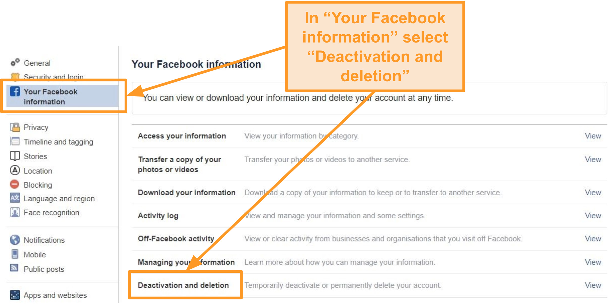 """Captura de pantalla de la pestaña """"Tu información de Facebook"""" que destaca la opción """"Desactivación y eliminación"""""""
