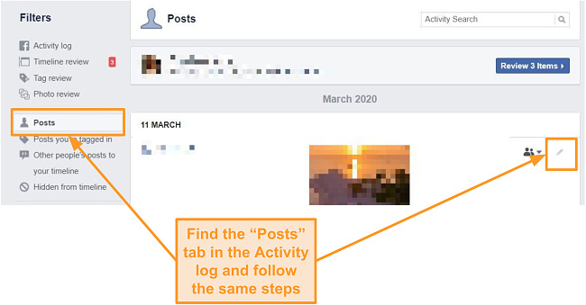 Screenshot of how to delete old Facebook posts