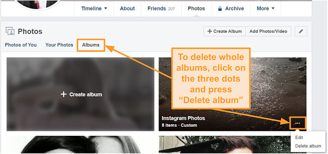 Screenshot of how to delete whole albums on Facebook