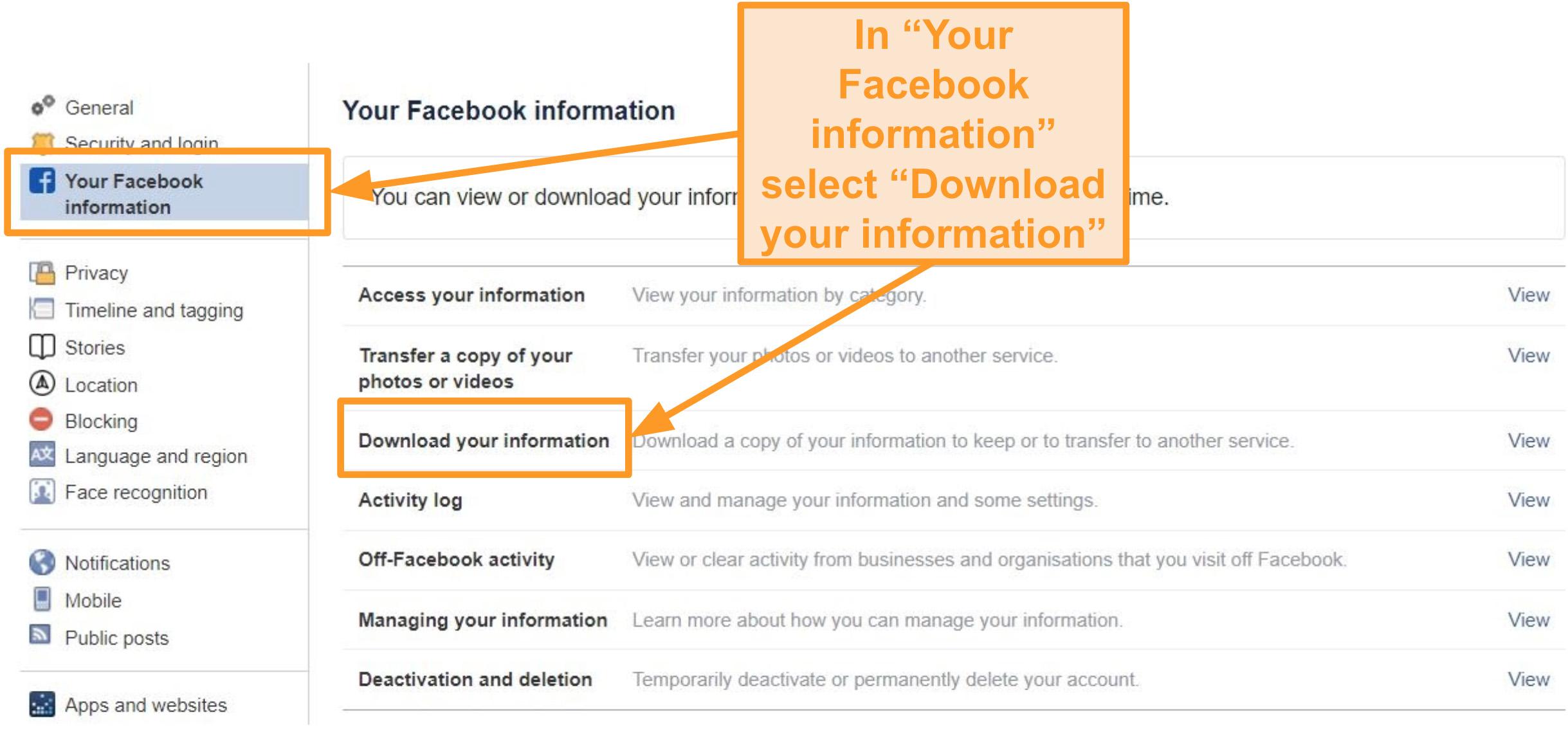 """Captura de pantalla de la pestaña """"Tu información de Facebook"""" que destaca cómo descargar tu información"""