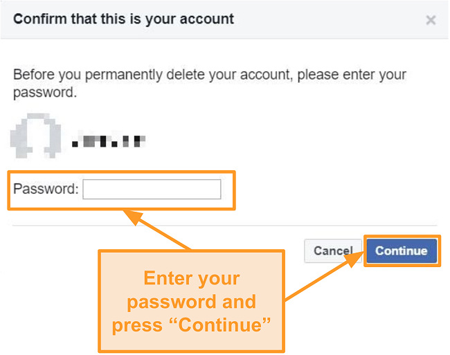Screenshot of entering password to confirm account deletion