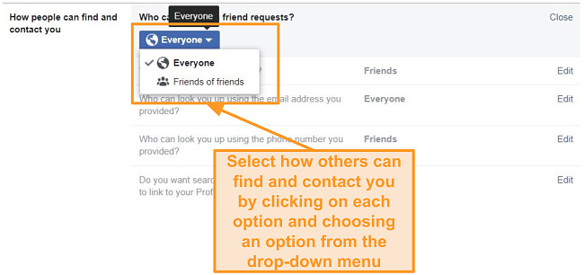 Screenshot o limiting how people can contact you on Facebook